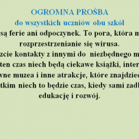 Prośba – koronawirus